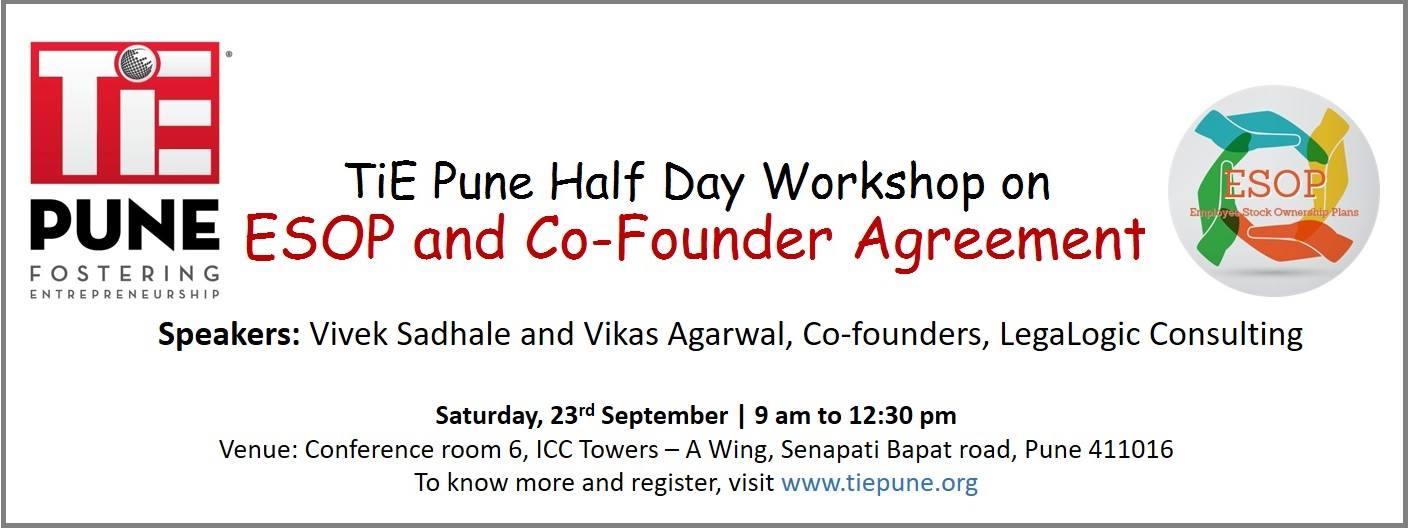 Book Tie Pune Half Day Workshop On Esop And Co Founder Agreement