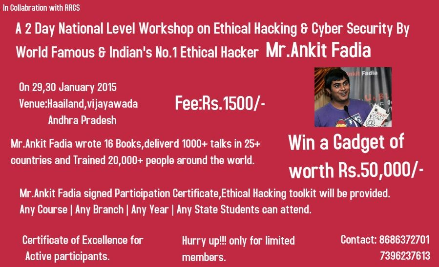 Book A 2 Day National Level Workshop On Ethical Hacking