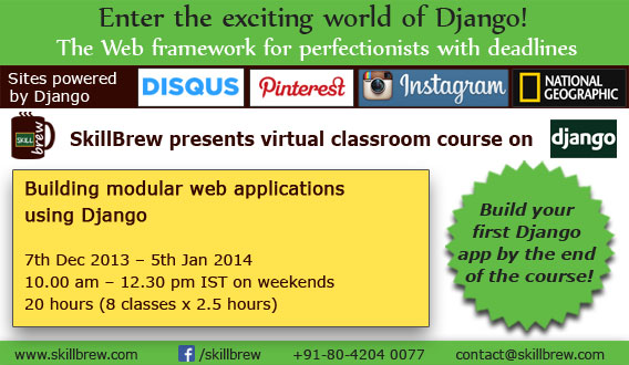Learn how to build modular web applications using Django in 20 hours (Dec 2013) - Explara