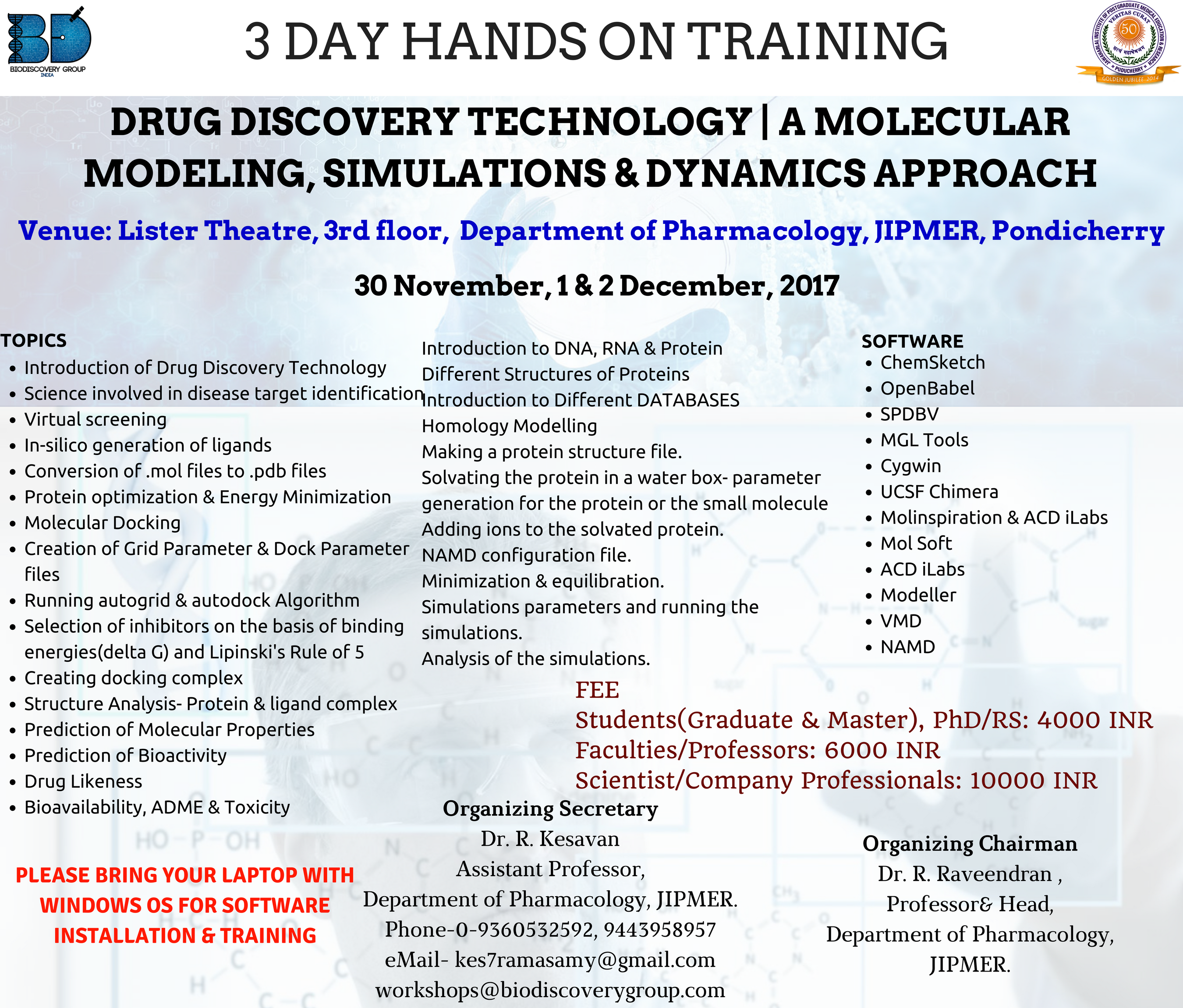 workshop on bioinformatics and drug discovery in JIPMER in